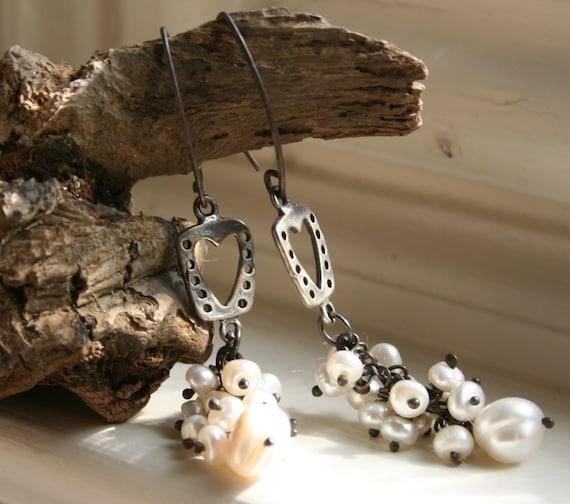 Romantic Elegant Heart Love Wedding Bridal Freshwater Pearl Dangle Boho Rustic Earthy Earrings