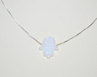 13x11mm WHITE Opal HAMSA Fatima Hand Charm Pendant with Sterling Silver 925 Box Chain NECKLACE. Real Silver. Free Shipping Worldwide.