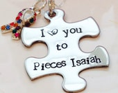 Hand Stamped Autism awareness necklace-Mothers Autism Necklace-autism I love you to pieces-autism ribbon charm