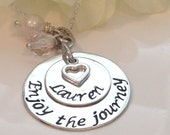 Enjoy the journey Hand Stamped necklace with compass charm-Graduation Gift-Retirement Gift-Graduation Necklace-Retirement Necklace