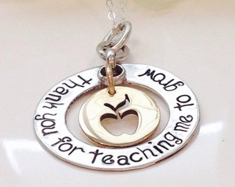 Teachers Necklace -Hand Stamped -Personalized Jewelry-Teacher Gift-Teacher Necklace-Teach appreciation gift