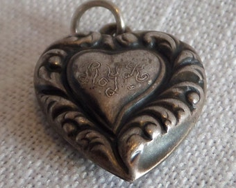 1920s- PUFFED HEART Sterling Silver HEART charm or pendant