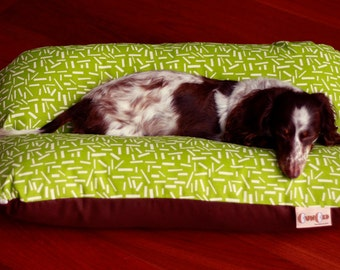 Green Confetti Sprinkles BUNBED Dachshund Dog Bed, Small Breed Dog Bed, Mid Century Modern Mod, Hot Dog Bed, Bun Bed