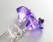 Purple Bell Flower Earrings Sterling Silver Dainty Botanical Artisan Handmade Glass Drop Earrings Violet Amethyst Purple Earrings