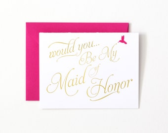 SALE!!! Will You Be My Maid of Honor Gold Foil Greeting Card by Abigail Christine Design