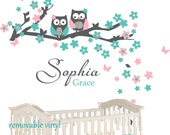 Nursery owl wall decal with  Monogram Personalized  Vinyl Wall Decal perfect decoration for nursery or playroom