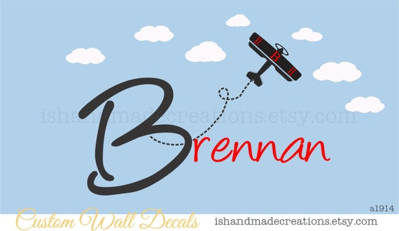 """Nursery Name Wall Decals -Name Monogram Vinyl Wall Decal - Airplanes and Clouds 26""""H x 46 """""""