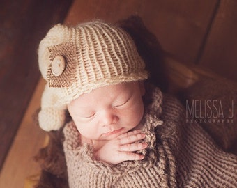Cream Burlap Baby Newborn Knit Knot Hat Photography Prop