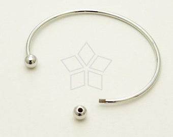 BR-009-OR / 1 Pcs - Cuff Bangle Bracelet for Metal Beads 12 gauge, Ball end screws off, Silver(Rhodium) Plated over Brass / 1.6mm