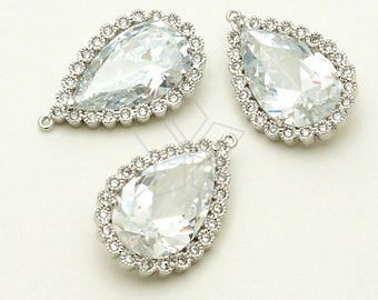 PD-798-OR / 1 Pcs - Precious CZ Drop Pendant (Large Size), Silver Plated over Brass / 16mm x 25mm