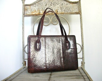 Vintage 60s Handbag - snakeskin bag - brown handbag - kelly handbag - structured purse - medium handbag - mod bag