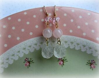 Shabby Chic earrings, Rose earrings, Rose Quartz earrings, Light Pink earrings