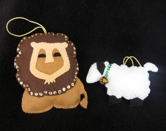 Lion and the Lamb Christmas Easter Ornament Handmade with Felt and Sequins Made in USA