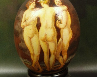 The Three Graces, Hand Painted Ostrich Egg Shell, Egg Shell Art