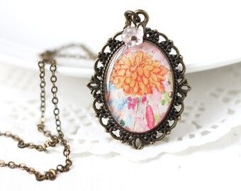 Orange Chrysanthemum Art Pendant Necklace - Pastel Flowers in Orange and Pink, For Spring Weddings