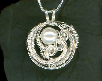 Wire Wrapped Pearl Pendant Sterling Silver Swarovski Pearl Wire Jewelry