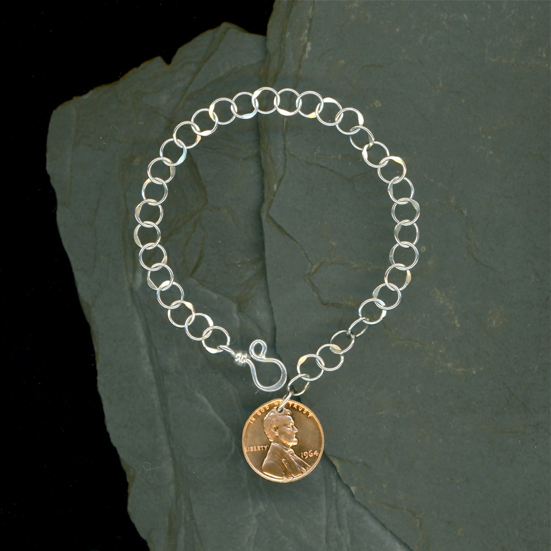 1965 Penny Bracelet Chain Charm 50th Birthday Gift 50th