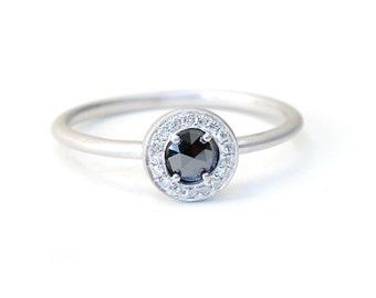 Rose Cut Diamond, Rose Cut Diamond Ring, Engagement Ring, Diamond Ring, Black Diamond Ring, Stacking Ring, Rose Cut Diamond, Ring, Nixin