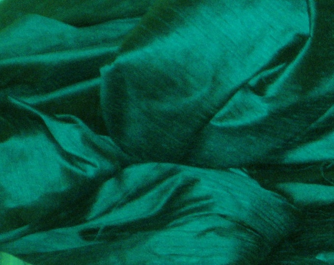 "Peacock Teal Green 100% dupioni silk fabric yardage By the Yard 45"" wide"