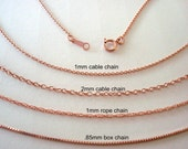 """14k ROSE Gold Filled cable rope box chain Necklace finish chain with clasp 16"""" 18""""  made in USA"""