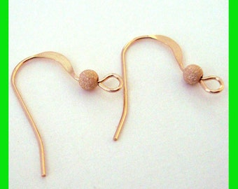 14k Gold Filled french hook Earring Ear Wire with stardust bead (10pcs)  GE33