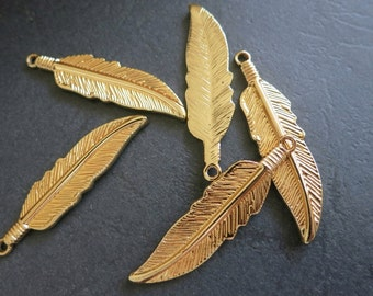 12pcs -Gold Feather Charm pendant Beads 10x42mm -G3604