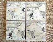 Vintage Ski Natural Stone Coaster Set - Rustic - Drink Tile - Ski Decor - Ski - Lodge - Alpine - Cabin - Coaster