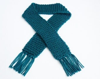 SALE...Deep Ocean Blue Knit Baby Scarf Boy or Girl Photo Prop Winter Accessories Child Turquoise Scarves Infant Newborn Peacock Children