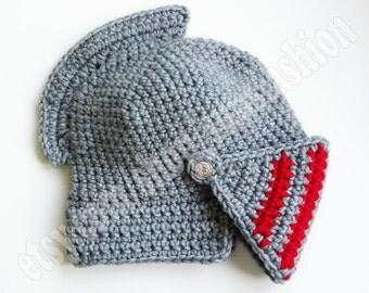 Knight Helmet Crocheted hat Slouch Crochet Mens Convertible Helmet Hat Handmade Winter Men Red Silver