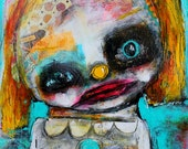 RESERVED. Girl Clown Portrait, Original Painting. Circus Girl. 9x12 acrylic painting, abstract portrait, Colorful wall art