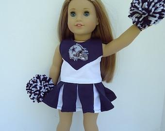 "18"" American Doll Dallas Cowboy Cheerleader, PomPoms, Gym Shoes"