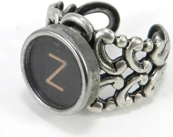 Typewriter Key Initial RIng  - Steampunk Ring -  Letter Z Ring - Name Ring - Custom Initial Ring - Silver Adjustable Ring