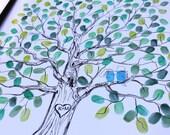 Original Wedding Gift Thumbprint Guest Book Tree Wedding Tree Guestbook Ideas Fingerprint Guestbook Alternative Custom Wedding Tree BW BIRDS