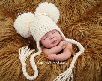 Baby Hats, Crochet Ear Flap Pom Pom Beanie with Tassels, Baby Pom Pom Hat, Newborn Earflap Pom Pom Hat, Crochet Baby Hat, Newborn Photo Prop