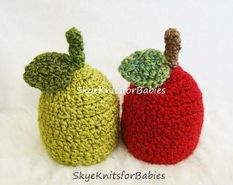 Baby Apple Hat, Crochet Apple Hat for Baby, Crochet Apple Beanie, Baby Hat, Newborn Photo Props