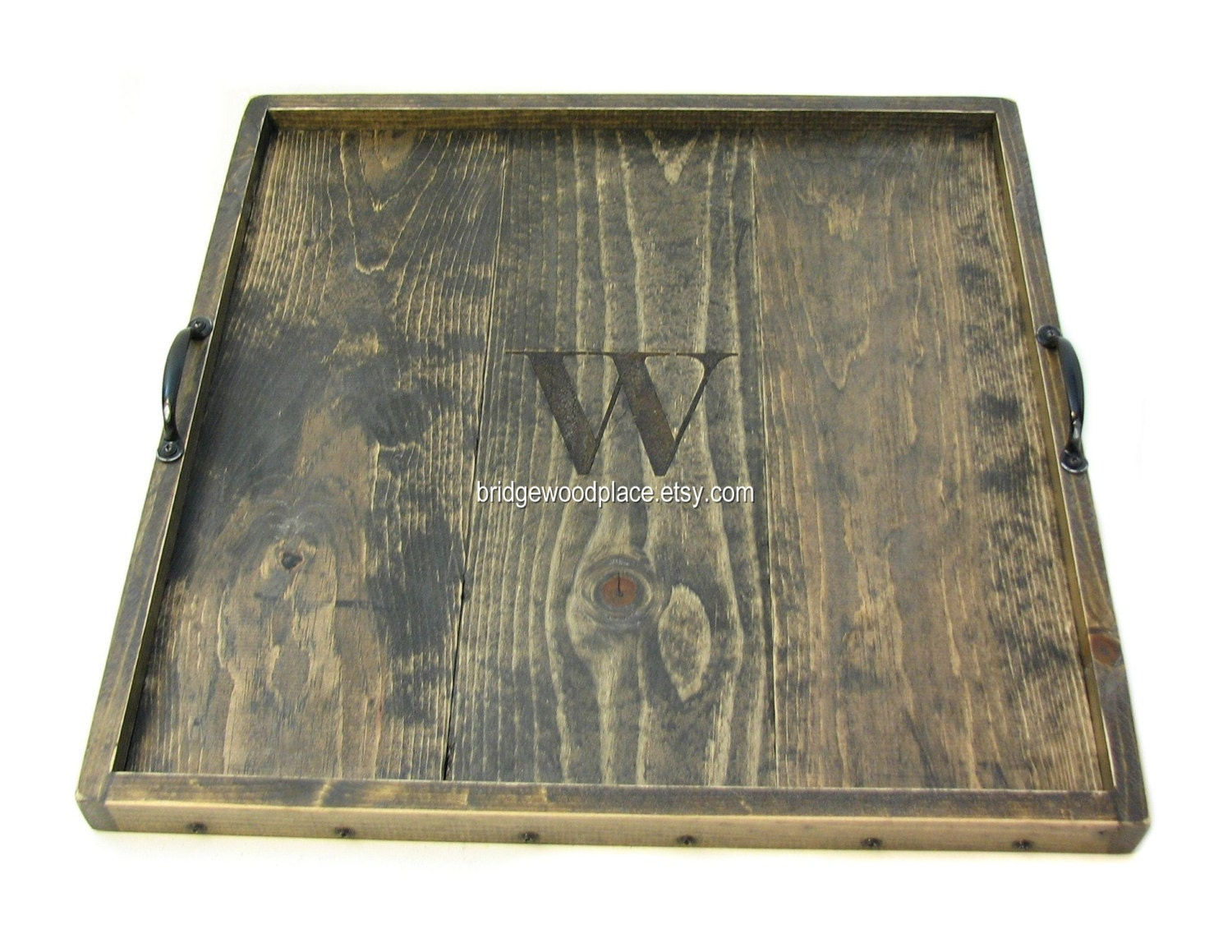 Monogrammed ottoman tray large wooden coffee by