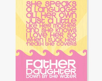 Father Daughter Print (Fuschia Pink & Yellow) Digital Illustration Kids Wall Art