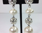 RESERVED FOR VAL  Rhinestone and Faux Pearl Drop Earrings
