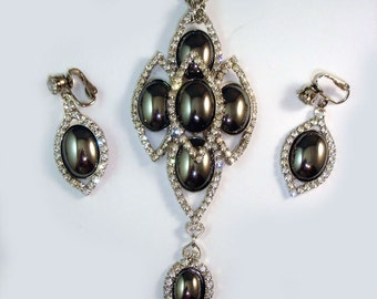 1960s Pendant Necklace Earrings Demi Set ~ Black Hematite with Rhinestones  ~ Book Piece!