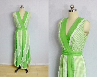 Vintage Spring green gingham and lace maxi dress