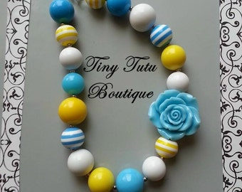 AQUA and YELLOW FLOWER Chunky Necklace- Chunky bubblegum necklace, Girls chunky necklace, Gumball necklace, Chunky beaded necklace