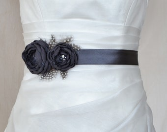 Handcraft Charcoal Grey Two Flowers With Feathers Wedding Bridal Sash Belt