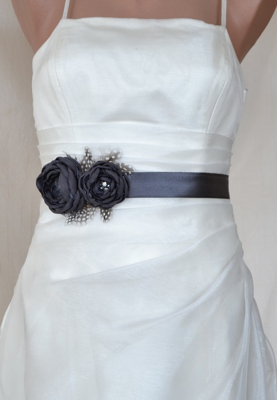 EXPRESS SHİPPİNG! Handcraft Charcoal Grey Two Flowers With Feathers Wedding Bridal Sash Belt
