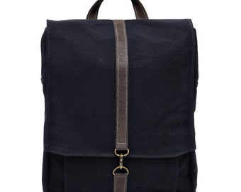 "Black Cotton 15"" Padded Laptop backpack  - Vegan Laptop - Roxanna in black"