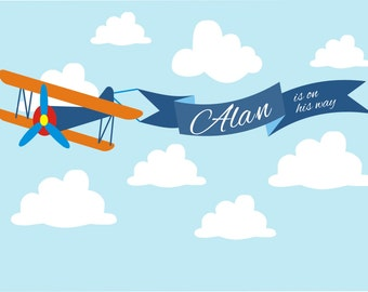Airplane Persnalized Printable Backdrop