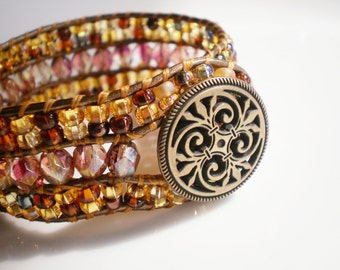 ON SALE Beaded Bracelet Cuff Pink and Gold Cuff Gold Bracelet Bronze Bracelet