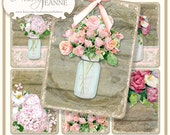 Digital Mason Jars, Country Rustic ATC rectangle Collage Sheet, E14-17E, roses hydrangea poppies calla lilies ivy floral flowers wood