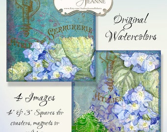 Square 4 inch 3 in Tags Digital Collage Sheets, French Blue Hydrangea,  AJR-034B scrapbook greeting card supplies art hydrangeas butterfly
