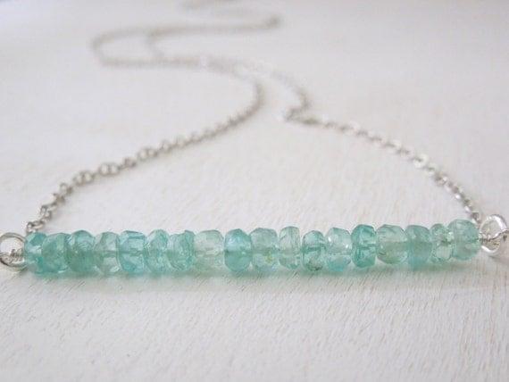 Blue Apatite Rondelle Stick Necklace - Natural Light Blue Stone Pendant Necklace Delicate Silver Chain
