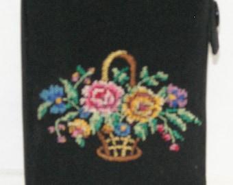 Needlepoint Floral Black Cigarette Case, 1950s, Western Germany